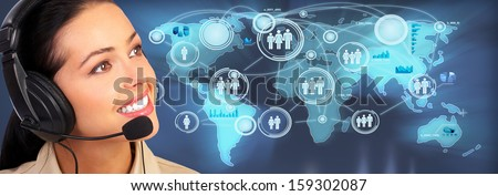 Call center operator woman. Over global media background. - stock photo