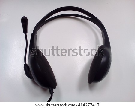 call center required, listen, Headphone with blank space - stock photo