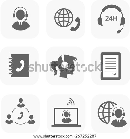 Call center servise set icons  phone assistance and headset customer care  isolated - stock photo