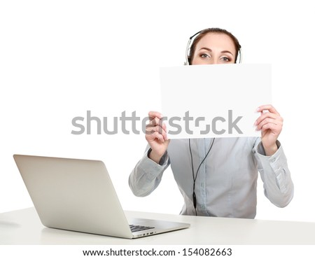 Call center woman with headset holding blank sign. - stock photo