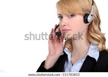 Call center worker - stock photo