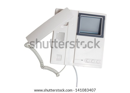 call intercom communication button speaker electronic cable device isolated clipping path - stock photo