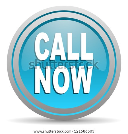 call now blue glossy icon on white background - stock photo