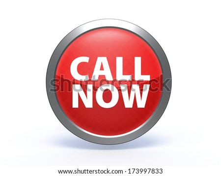 call now circular icon on white background - stock photo