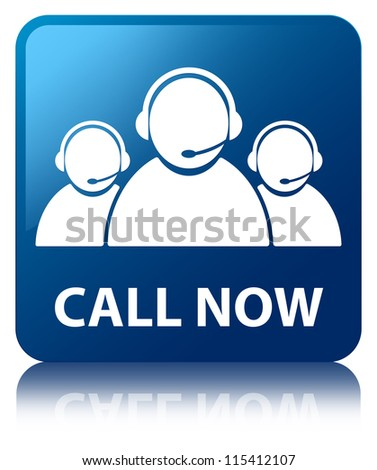 Call now glossy blue reflected square button - stock photo
