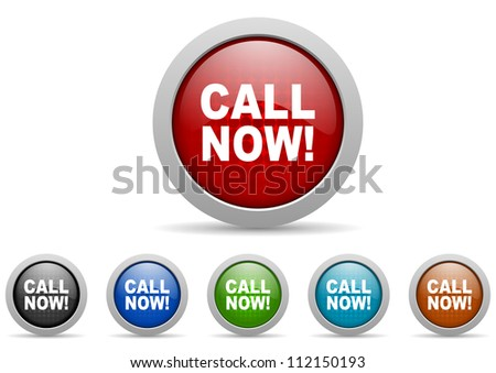 call now icons set - stock photo