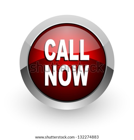 call now red circle web glossy icon - stock photo