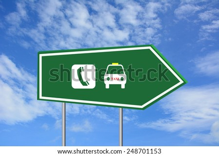 Call taxi road sign green - stock photo