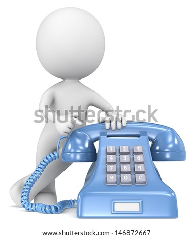 Call. The Dude pointing at a classic telephone. Blue with white label. - stock photo