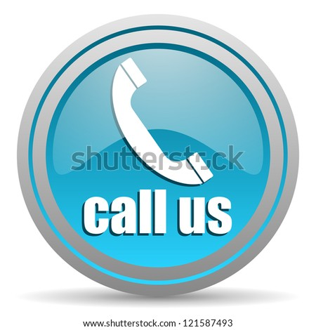 call us blue glossy icon on white background - stock photo
