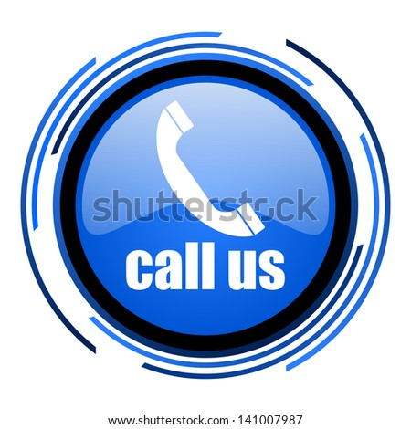 call us circle blue glossy icon  - stock photo