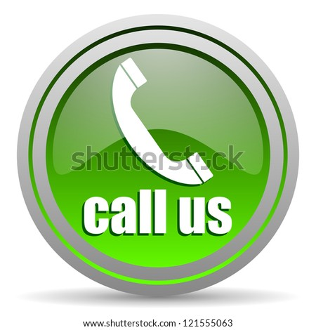 call us green glossy icon on white background - stock photo