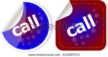 call word stickers set, web icon button - stock photo
