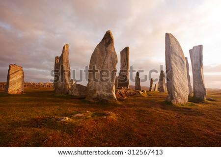 Callanish standing stones: neolithic stone circle in Isle of Lewis, Scotland - stock photo