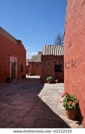 Calle Cordoba at the Santa Catalina Monastery in Arequipa, Peru - stock photo