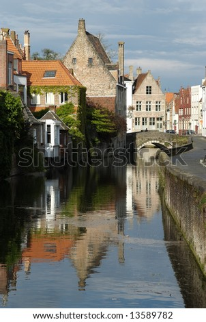 Called the Venice of the North, Bruges is one of the world's best-preserved medieval cities with over 600 years of history. (UNESCO World Heritage Site) - stock photo