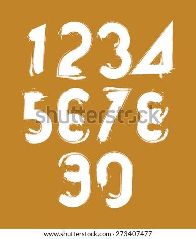 Calligraphic brush numbers, hand-painted white numeration. - stock photo