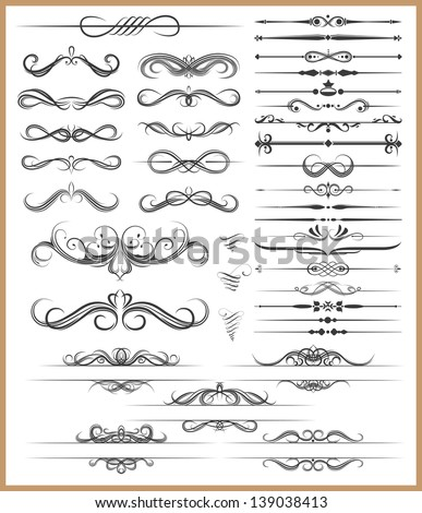 Calligraphic decorative elements - stock photo