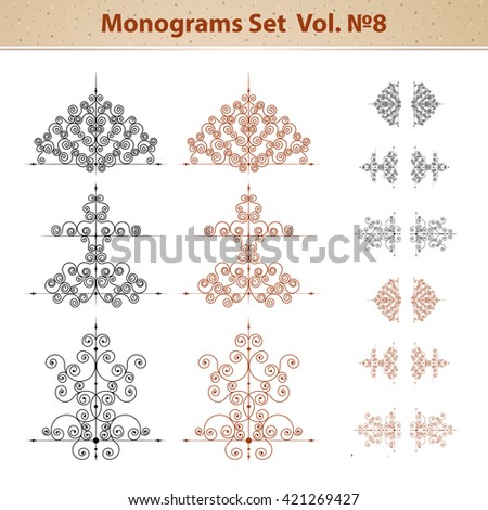 Calligraphic design elements and page decoration, set of ornate patterns in retro style. Raster version - stock photo