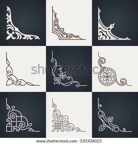 Calligraphic design elements. Vintage corners set. Lines style - stock photo