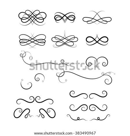 Calligraphic elements on white background. Set of Calligraphic flourishes and Swashes. Black design loops. Curled Calligraphic flourish, Swash and loops for decoration. Calligraphic design element - stock photo