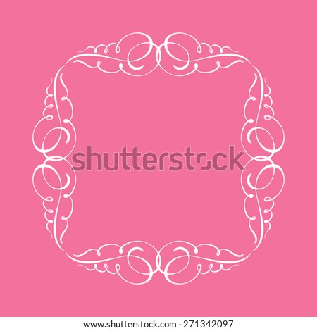 Calligraphic frame and page decoration. illustration white background - stock photo
