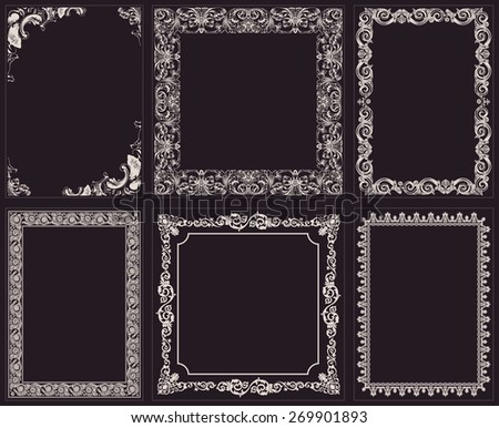 calligraphic frames set. Baroque ornament and vintage black border - stock photo