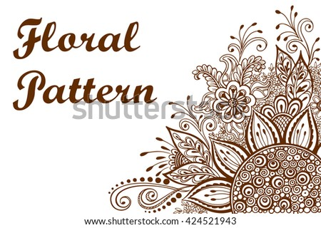 Calligraphic Vintage Pattern, Symbolic Flowers and Leafs, Abstract Floral Outline Ornament, Brown Contours Isolated on White Background.  - stock photo