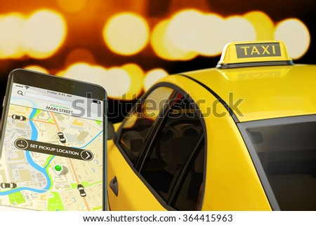 Calling taxi from mobile phone concept, yellow cab transportation network, modern smartphone with app for online taxi ordering service on screen, car with taxi sign at roof on street at night - stock photo