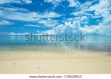 Calm ARAGUSUKU Beach, Okinawa Prefecture/Japan, 2013/6/17.  - stock photo
