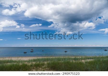 Calm Baltic sea shore with sedge grass - stock photo