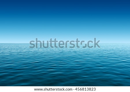 calm blue sea and gradient blue sky background - stock photo