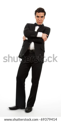Calm confident business man looking down - stock photo