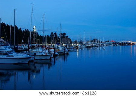 calm harbor near Standley park after sunset, Vancouver, British Columbia, Canada - stock photo