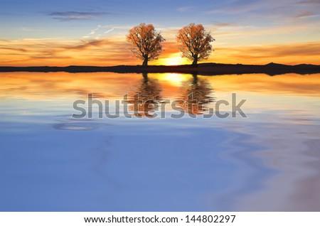 calm lake colors - stock photo