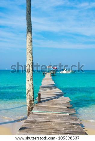 Calm Meditation Boardwalk Admire - stock photo