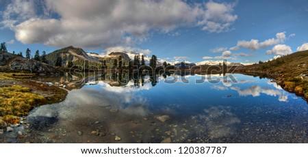 Calm mountain lake perfect reflection panorama - stock photo