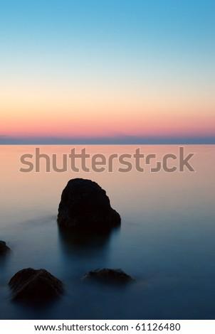 Calm on sea. Nature composition. - stock photo