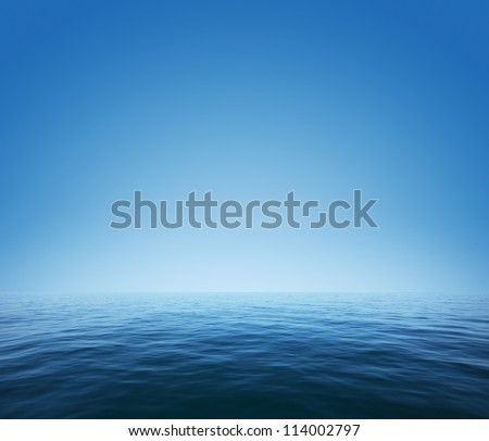Calm sea and blue clear sky - stock photo