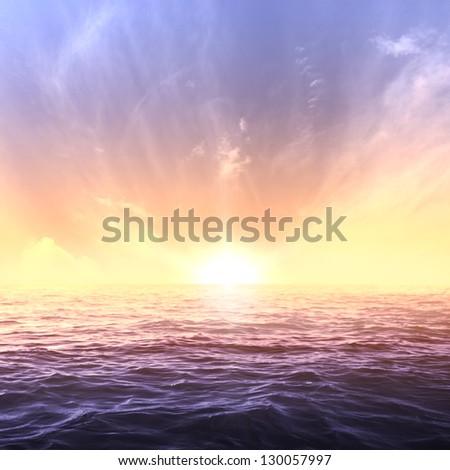 Calm sea and sky during sundown. Bright seascape background - stock photo