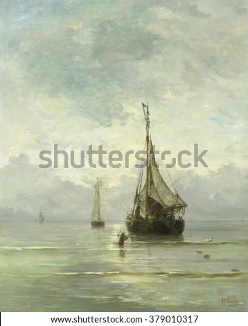 Calm Sea, by Hendrik Willem Mesdag, 1860-1900, Dutch painting, oil on canvas. Fishing boats approaching beach as a wading man carries an anchor. - stock photo
