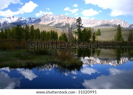Calm section of the Big Wood River, Idaho in the spring - stock photo