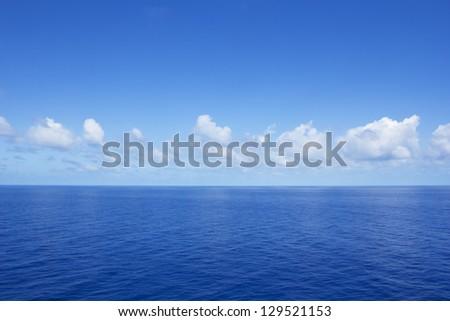 Calm Vibrant Blue Ocean - stock photo