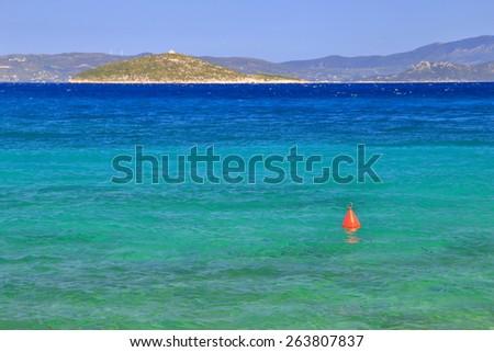 Calm waters of the Aegean sea near the Greece shores - stock photo