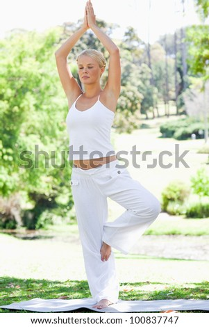 Calm young woman doing yoga exercises in the park - stock photo
