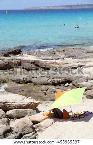 Calo des Mort  Turquoise beach in Formentera Balearic Islands Spain - stock photo