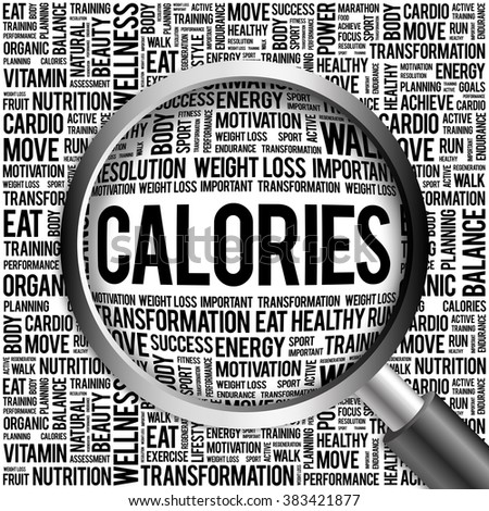 CALORIES word cloud with magnifying glass, health concept - stock photo