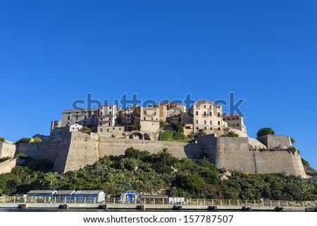 Calvi citadel - coastal town on the island of Corsica, France. Christopher Columbus supposedly was born there.  - stock photo