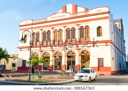 CAMAGUEY,CUBA-FEBRUARY 12,2016: Principal theater which is currently the headquarters of the provincial ballet.  The landmark is one of the most important tourist attraction and cultural centers - stock photo