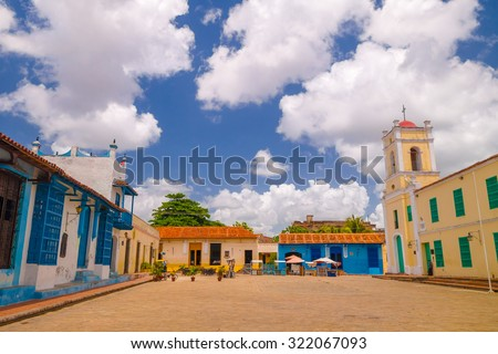 Camaguey, Cuba, old town listed on UNESCO World Heritage  - stock photo